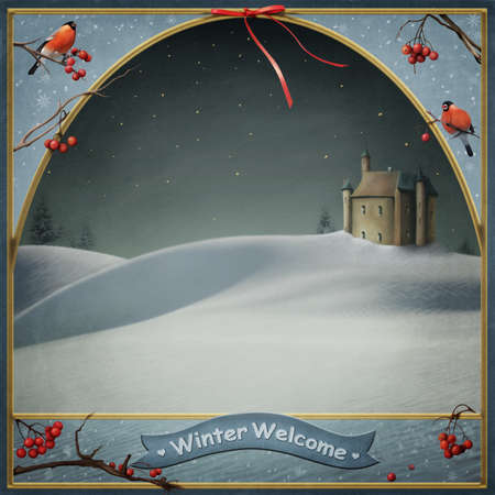 winter time: Winter background for greeting the New Year or Christmas card Stock Photo