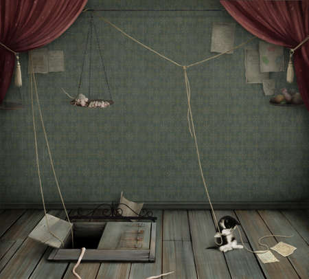 Dark room with  cellar,   kitten and  rat.