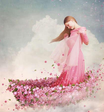 Girl in  boat of flowers