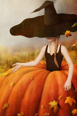 Fall girl. Autumn illustration, poster, computer graphics.