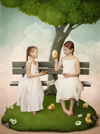 Two girls, who open the egg.