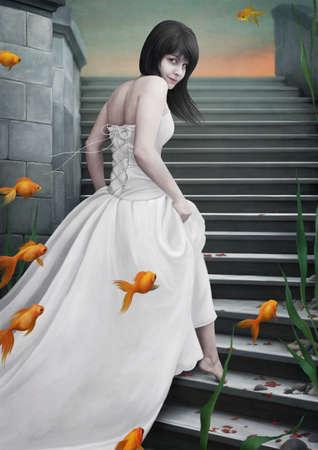 goldfish: Beautiful  girl  and  goldfish.