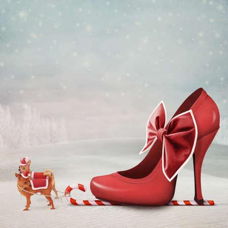 tra�neau: Carte de No�l avec une �quipe de deux animaux de compagnie et des chaussures rouges avec un arc.
