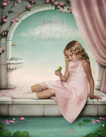 castillos de princesas: Niña jugando con un sapo-príncipe. Foto de archivo