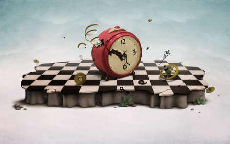 Podium with broken old clock
