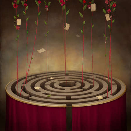 Red roses with a rope. Illustration, concept art, computer graphics.