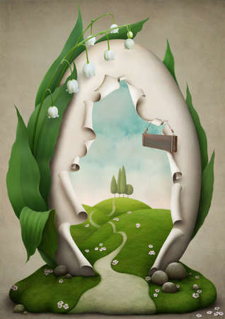 Easter egg, an invitation to a holiday, illustration, greeting card or poster. Computer Graphics.