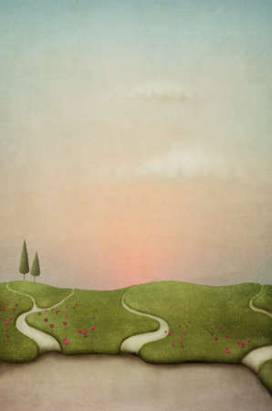 Background for card or poster. Field with paths and flowers. Computer Graphics. Stock Photo