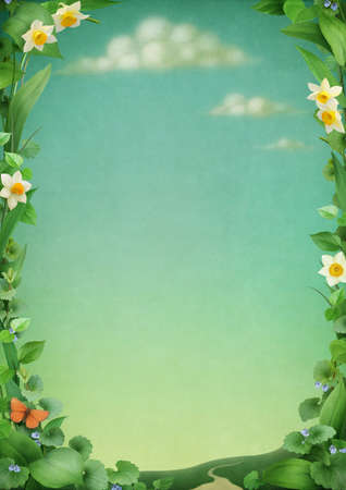 Spring landscape, the frame of flowers and leaves. Stock Photo