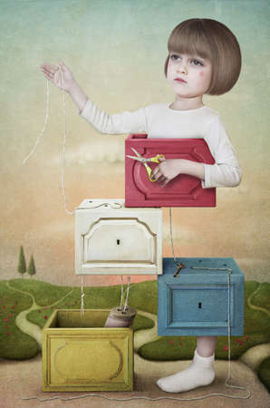 Illustration, card or a poster. Wooden boxes with the little girl with the scissors. Computer Graphics. Stock Photo