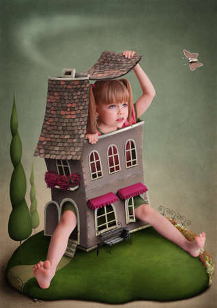 Girl in  small house on the lawn. Greeting card or poster. Computer Graphics.