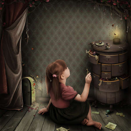 closets: Girl in  dark room with  small door. Greeting card or poster. Computer Graphics Stock Photo