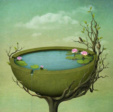 lirio acuatico: Hermosa tarjeta de felicitación o la ilustración, el nido en un árbol, los pájaros cantando. Computación Gráfica.
