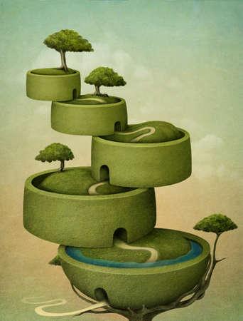 Beautiful greeting card or illustration of tree. Computer Graphics. Stock Illustration - 12879775