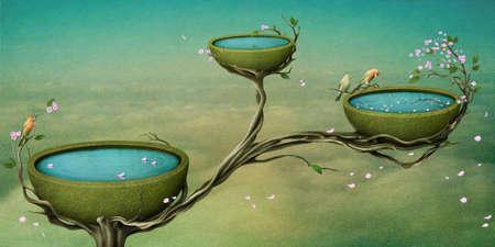 fantasy landscape: Flowering Tree,  beautiful nest with water on the tree. Computer Graphics. Stock Photo