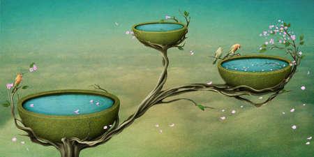 ave del paraiso: �rbol Florido, hermoso nido con agua en el �rbol. Computaci�n Gr�fica. Foto de archivo