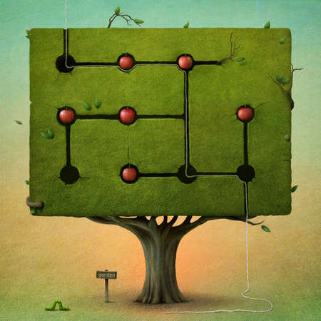 Green tree with red apples, caterpillar and imaginary garden. Computer Graphics.