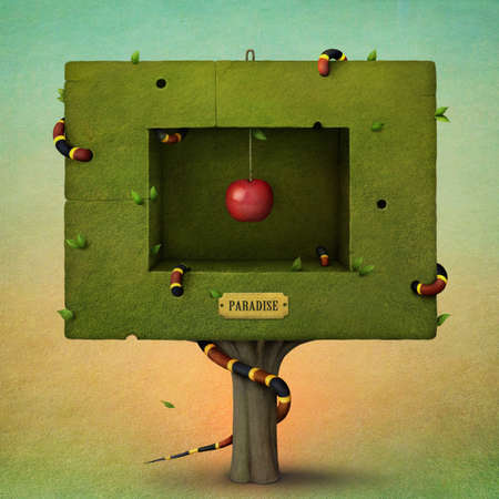 arbol de manzanas: Árbol de la plaza con la manzana roja y la serpiente. Computación Gráfica.