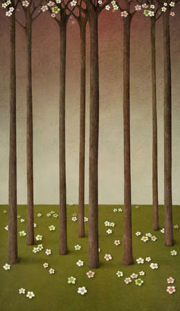 Illustration or background with flourishing forest. Computer Graphics.