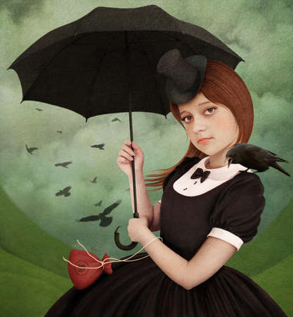 dark pastel green: Girl with umbrella and  raven. Poster or illustration. Computer Graphics.