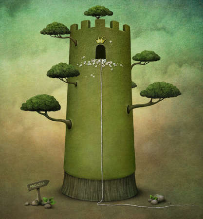 Fairy tale illustration or  postcard with  tower and trees. computer graphics illustration