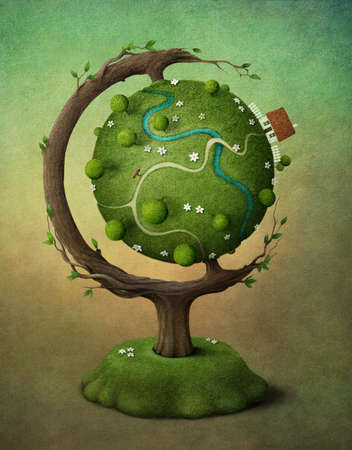 topiary: Globe with  house, garden and road. Illustration or greeting card. Computer Graphics.