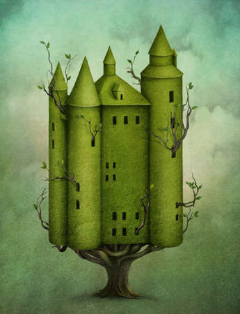 Green Tree in form of castle with branches and leaves. Computer Graphics. Stock Photo