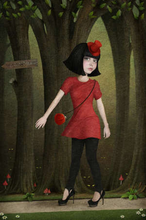amanita: Illustration to  fairy tale Little Red Riding Hood