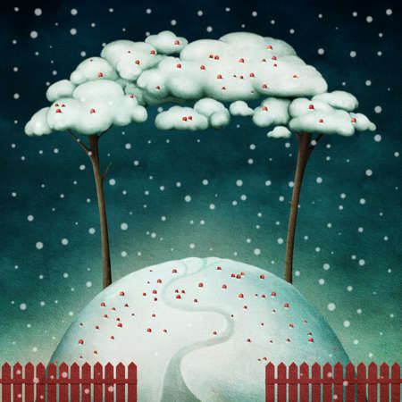 snow drift: Beautiful winter background with trees on hill and red fence. Computer graphics.