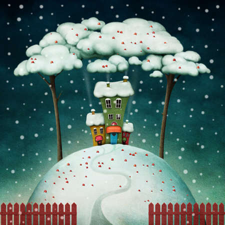 snow drift: Three colorful houses on  snowy hill between trees. Computer graphics. Stock Photo