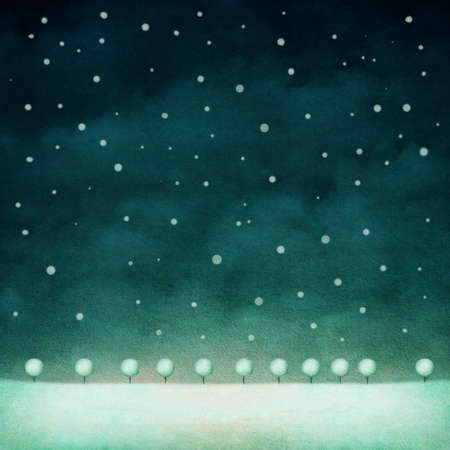 snow drift: Night pastel background with snow and trees. Computer graphics. Stock Photo