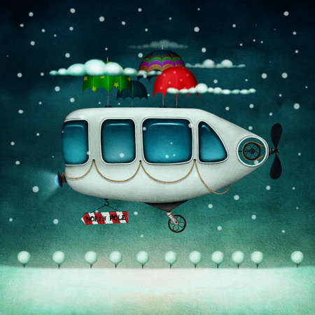 unrealistic: Winter illustration of  flying machine flying to the North Pole. Computer graphics.