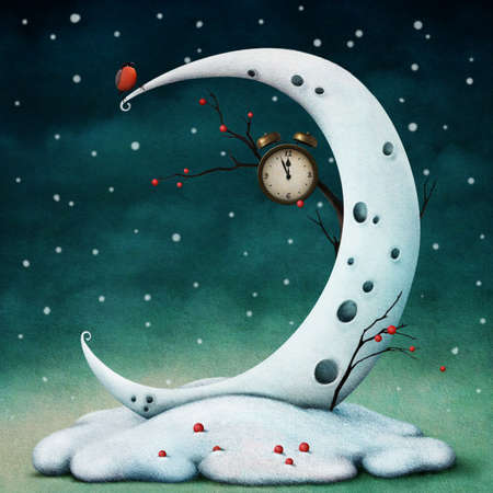fantasy: Winter illustration or poster with the moon for hours, berries and birds. Computer graphics. Stock Photo