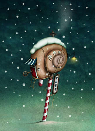 locked door: Illustration or holiday cards with snail mail box. Computer graphics.