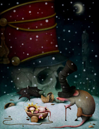 nutcracker: Poster or illustration for the fairy tale The Nutcracker, computer graphics. Stock Photo