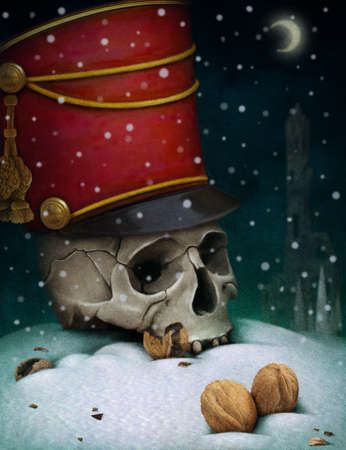 Poster or illustration for the fairy tale The Nutcracker, computer graphics. Stock Photo