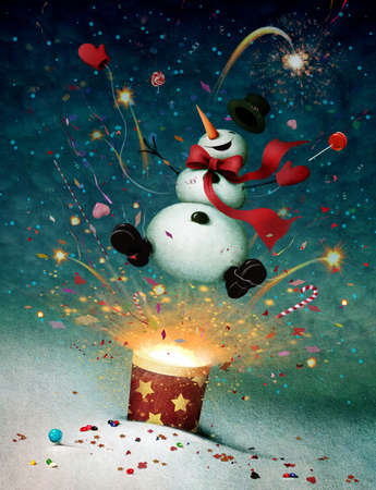 petard: Holiday greeting card or illustration with cheerful snowman and fireworks