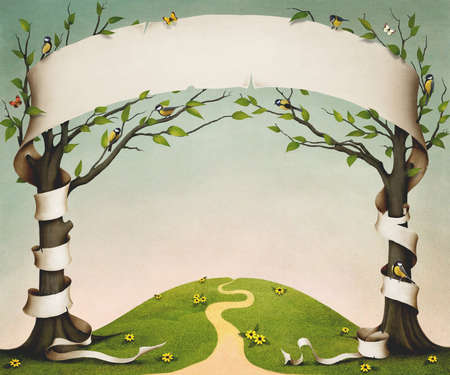 Spring meadow with trees, birds and flowers, and large paper banner Stok Fotoğraf