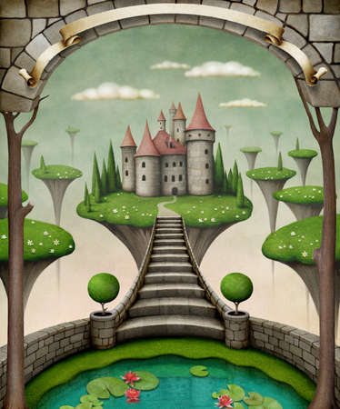 Beautiful fairy background or illustration with hanging meadows .