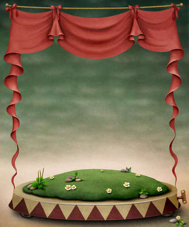 circus stage: Pastel background with meadow and red curtain   Stock Photo