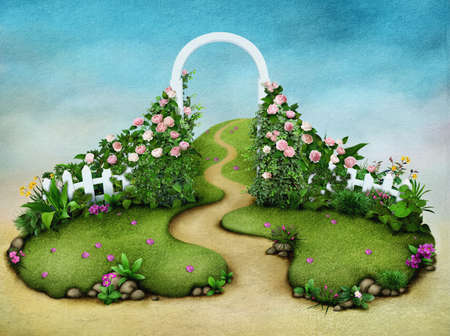 stone arch: Background or illustration green meadow with roses and footpath.  Stock Photo