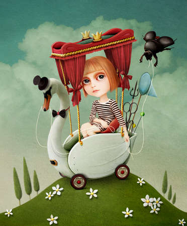 Conceptual illustration or poster.   Girl travels on  Swan.  Computer graphics.
