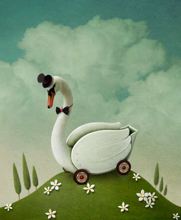 swan: Illustration , card or poster with  toy swan cart. Computer graphics.
