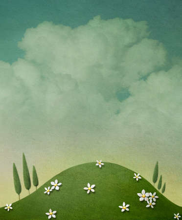 Pastel background with clouds and  green glade with flowers. Computer graphics.