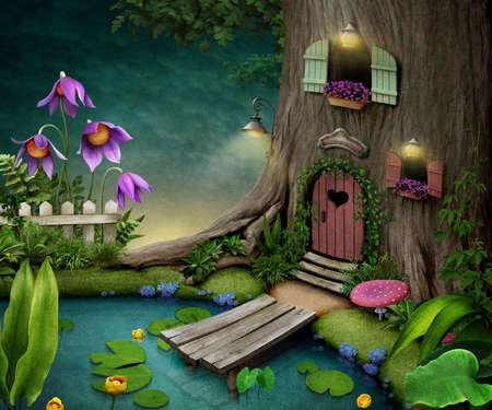 ilustracion: �rbol con la puerta y las ventanas cerca de estanque. Ilustraci�n o cartel, postal. Infograf�a. Foto de archivo