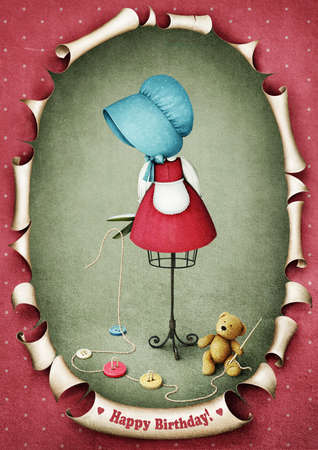 Illustration or  greeting card with  dummy doll and  teddy bear  Computer graphics