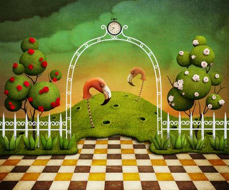 Achtergrond of illustratie of poster met flamingo en bomen met rozen Computer graphics Stockfoto