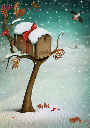 Mailbox in  winter forest  Fabulous illustration or  greeting card with  Christmas  Computer graphics  Stock Photo