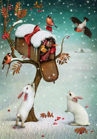 buzon: Caja con los regalos de Navidad en el bosque de invierno ilustración Fabulous o tarjeta de felicitación con los gráficos de ordenador de Navidad Foto de archivo