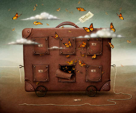 guest house: Wandering Suitcase, conceptual illustration or poster  Computer graphics